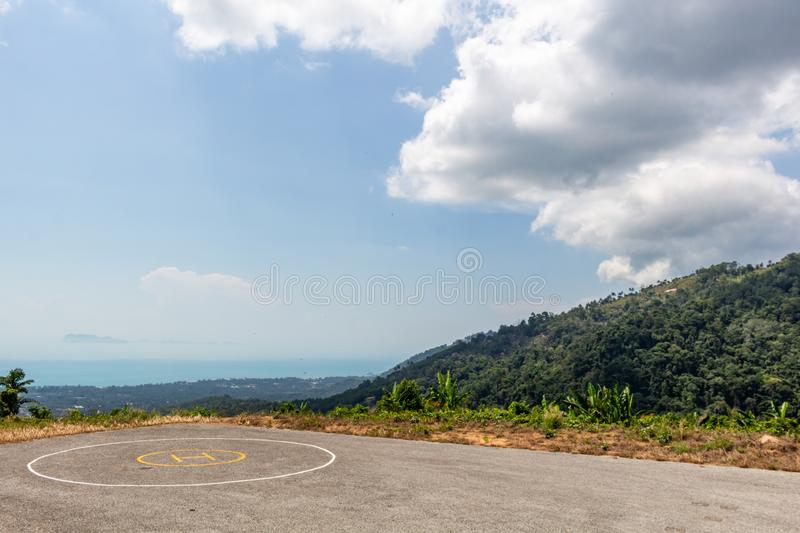 Heliport in the jungle Thailand. Heliport surrounded by wild jungle on the mountains of Koh Samui in Thailand stock image