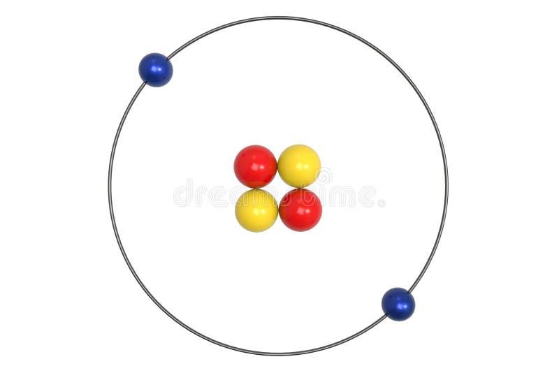 Helium-Atom Bohr-Modell mit Proton, Neutron und Elektron lizenzfreie abbildung