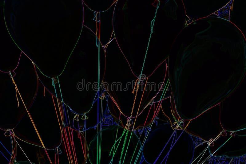 Helium-Ballonschwarzhintergrund stockfotos