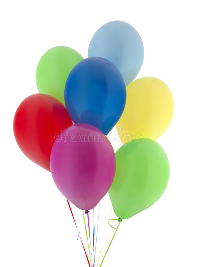Helium. Balloons on a white background stock photography