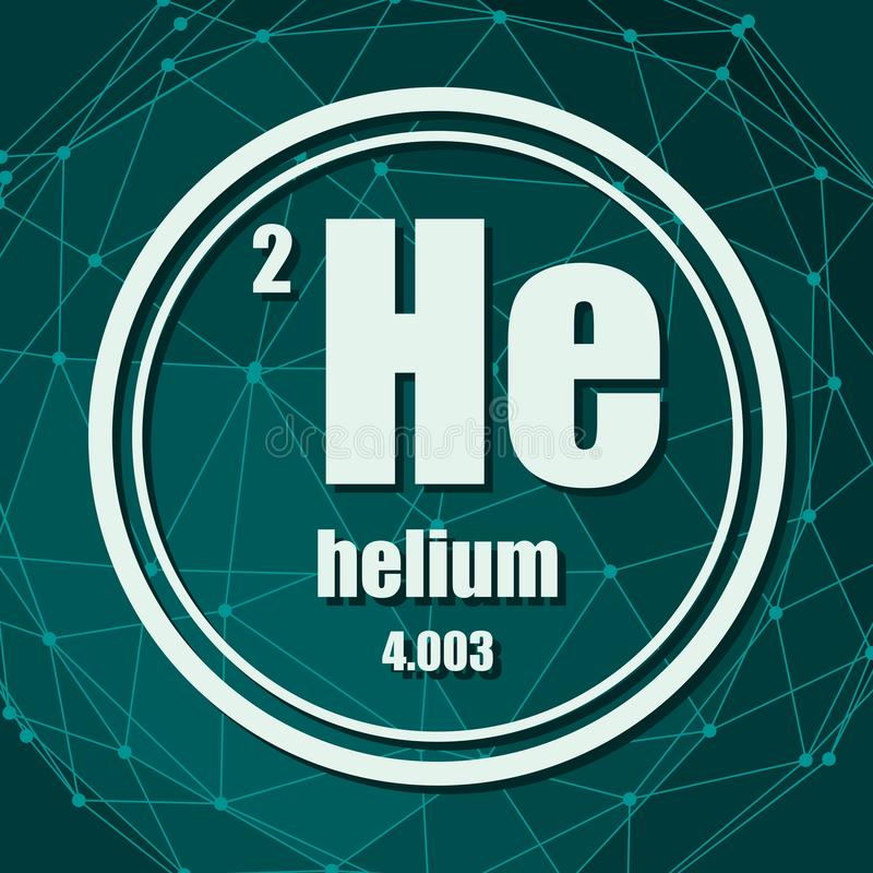 Helium chemical element. Sign with atomic number and atomic weight. Chemical element of periodic table. Molecule And Communication Background. Connected lines royalty free illustration