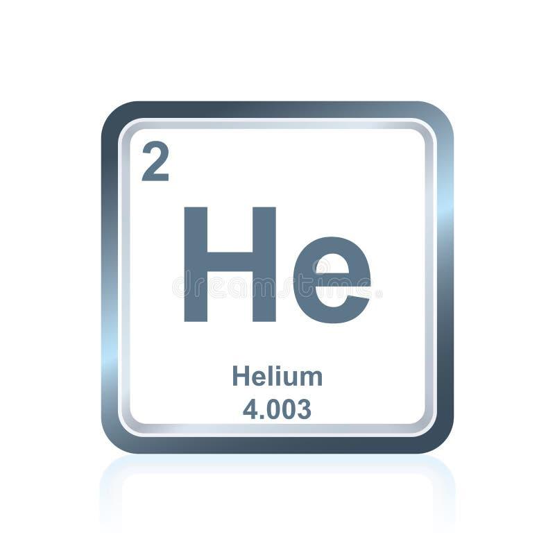 Helium för kemisk beståndsdel från den periodiska tabellen stock illustrationer