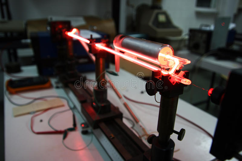 Helium Neon Laser. Used for scientific research stock photo