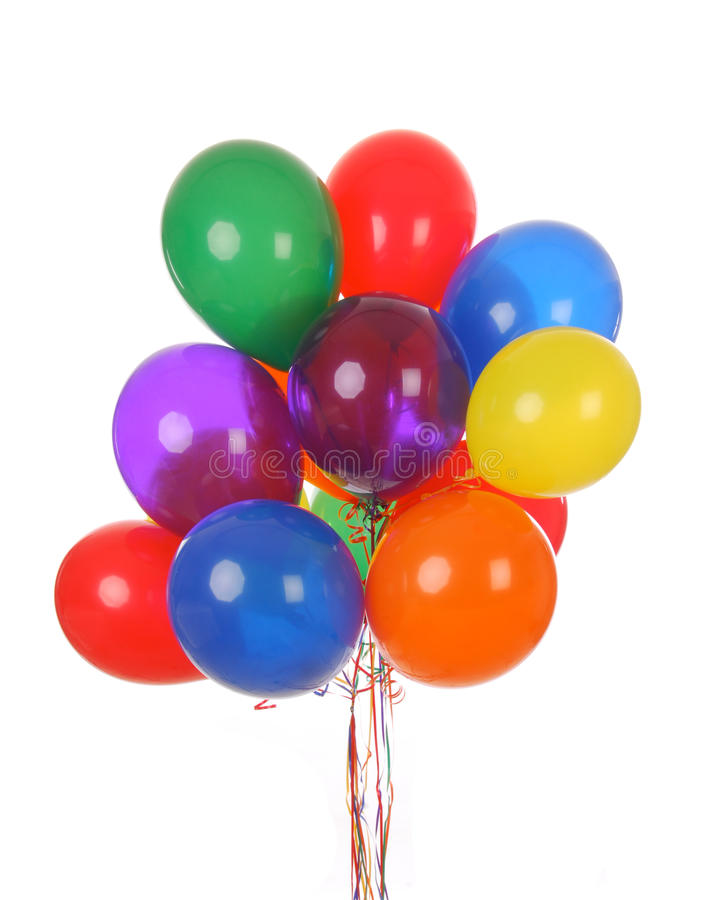 Helium party balloons. A bouquet of colorful helium balloons on a white background stock images