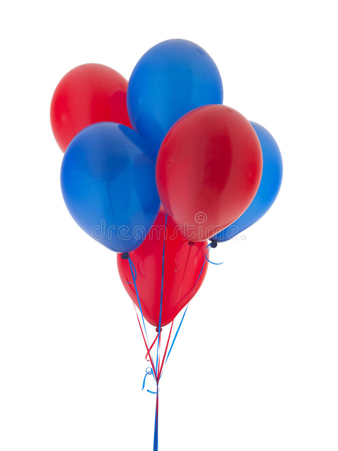 Helium. Red and Blue Helium Balloons stock images