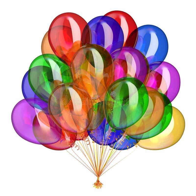 Helium steigt buntes mehrfarbiges der Bündelpartei-Dekoration im Ballon auf stock abbildung