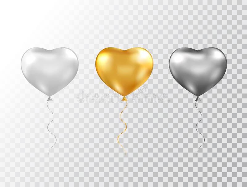 Heliumhjärtaballonger ställde in isolerat på genomskinlig bakgrund Omkullkasta glansig guld, försilvra och svarta festliga ballon stock illustrationer