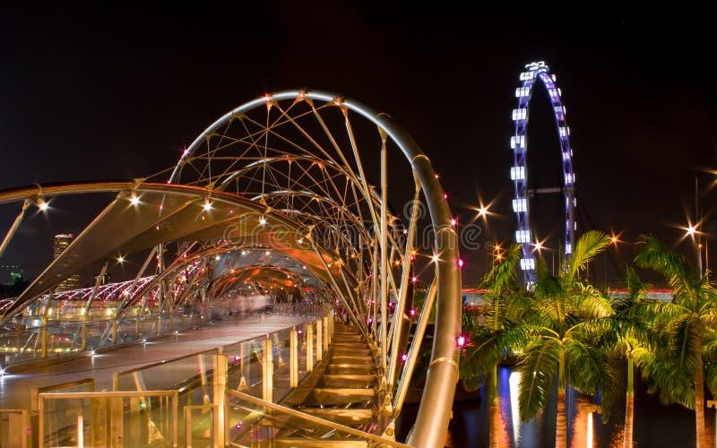 Helix Bridge and Flyer, Singapore. Double Helix Bridge and Flyer Night scenes, Singapore royalty free stock photo