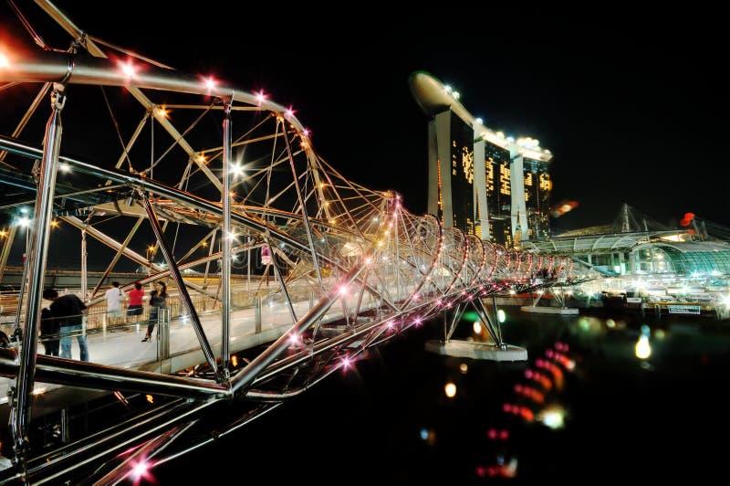 Helix Bridge and Marina Bay Sands IR stock photo
