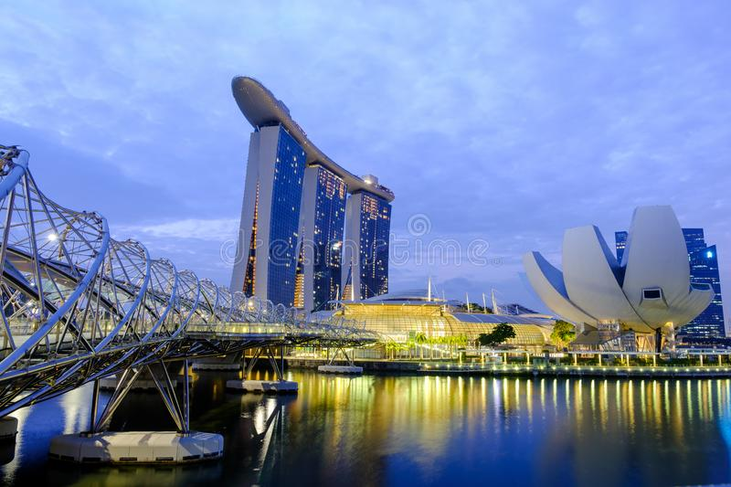 The Helix Bridge is a bridge for modern pedestrians with the most beautiful bridge in Singapore. stock images
