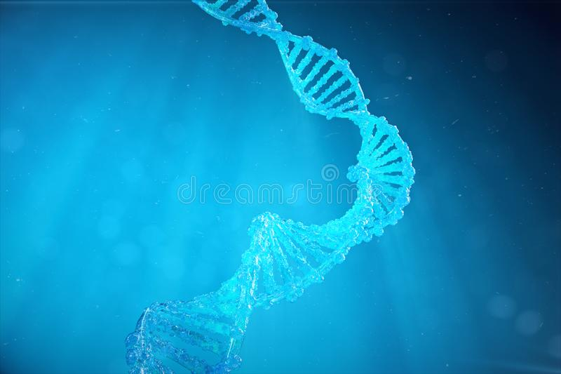 Helix DNA molecule with modified genes. Correcting mutation by genetic engineering. Concept Molecular genetics, 3d royalty free illustration