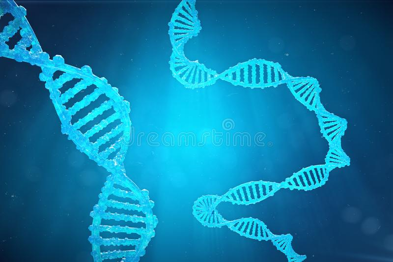 Helix DNA molecule with modified genes. Correcting mutation by genetic engineering. Concept Molecular genetics, 3d. Helix DNA molecule with modified genes vector illustration