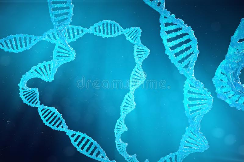 Helix DNA molecule with modified genes. Correcting mutation by genetic engineering. Concept Molecular genetics, 3d. Helix DNA molecule with modified genes stock illustration