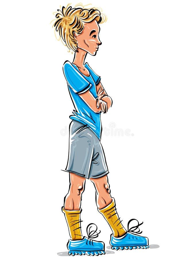 Hellång teckning för vektor av Caucasian blond tonåring c stock illustrationer