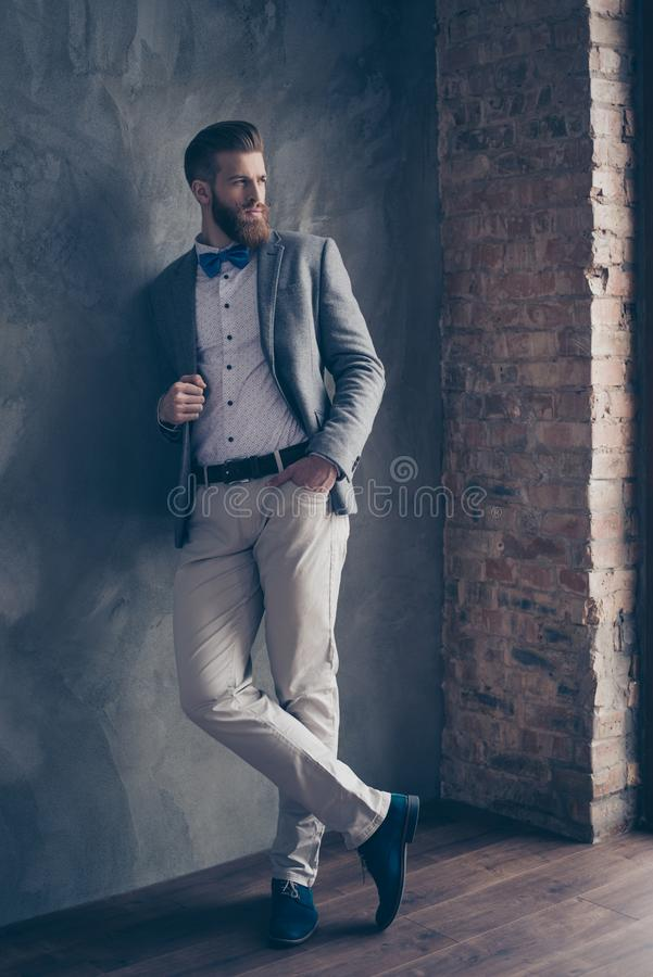 Hellångt foto av den säkra moderiktiga stilfulla mannen med det röda skägget royaltyfri foto