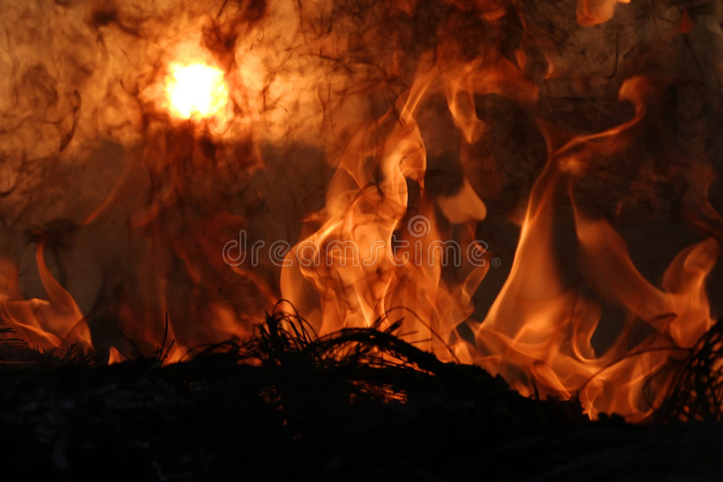 Hell. 's Fire - Flames, fire and sunset stock photo