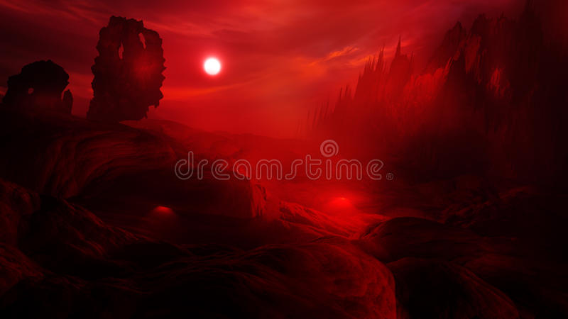 Hell. Artistic interpretation of the landscape level of hell. Ideal for background usage for film, games and designs vector illustration