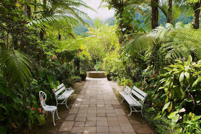 Garden in the oldest colonial estate Maison Folio in Hell-Bourg, Reunion island. royalty free stock images