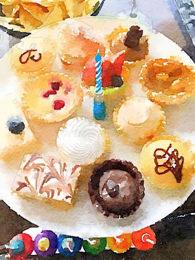 Hell farbige Platte von Geburtstagskleinen kuchen mit einer Kerze in der Mitte stock abbildung