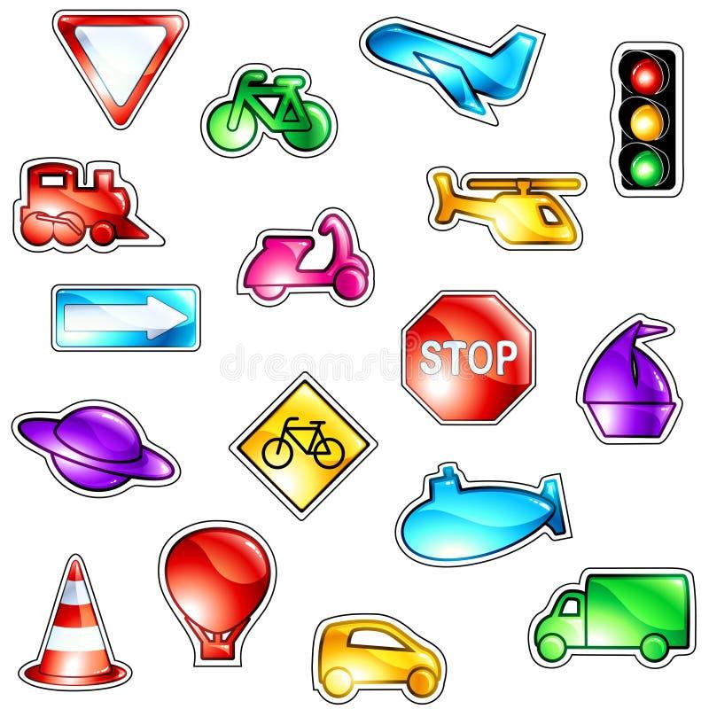Hell farbige Verkehrsikonen vektor abbildung