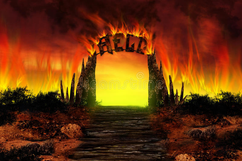 The HELL on fire stock illustration