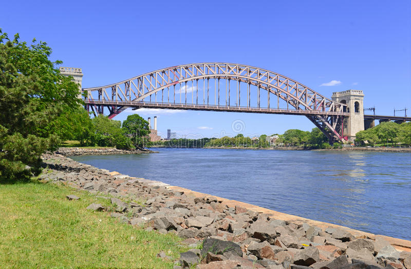 The Hell Gate Bridge (East River Arch Bridge) in New York City. Is a railroad only bridge, not used for passenger cars, and was a model for the Sydney Harbour royalty free stock image