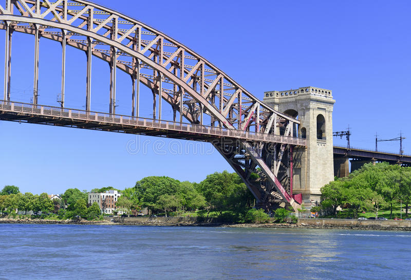 The Hell Gate Bridge (East River Arch Bridge) in New York City. Is a railroad only bridge, not used for passenger cars, and was a model for the Sydney Harbour stock photos