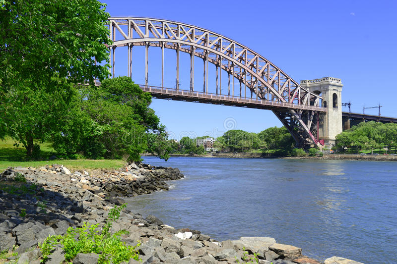 The Hell Gate Bridge (East River Arch Bridge) in New York City. Is a railroad only bridge, not used for passenger cars, and was a model for the Sydney Harbour stock image