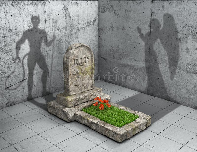 Hell or Heaven. Grave cast shadows in form of devil as hell, and shape of angel as paradise. 3d illustration vector illustration
