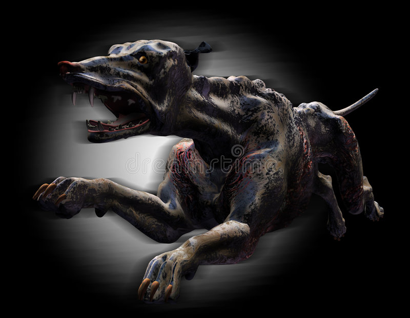 Hell Hound Running - with clipping path stock illustration