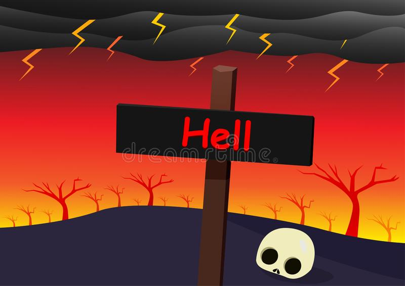 Hell landscape with signpost, skull and strom. Vector stock illustration