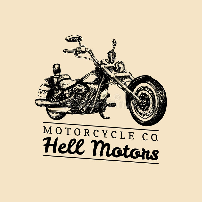 Hell Motors advertising poster. Vector hand drawn chopper for MC sign, label. Vintage detailed motorcycle illustration. royalty free illustration