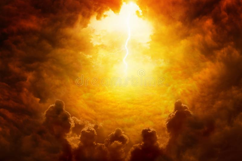 Hell realm, bright lightnings in apocalyptic sky, judgement day, end of world, eternal damnation. Dramatic religious background - hell realm, bright lightnings stock photography