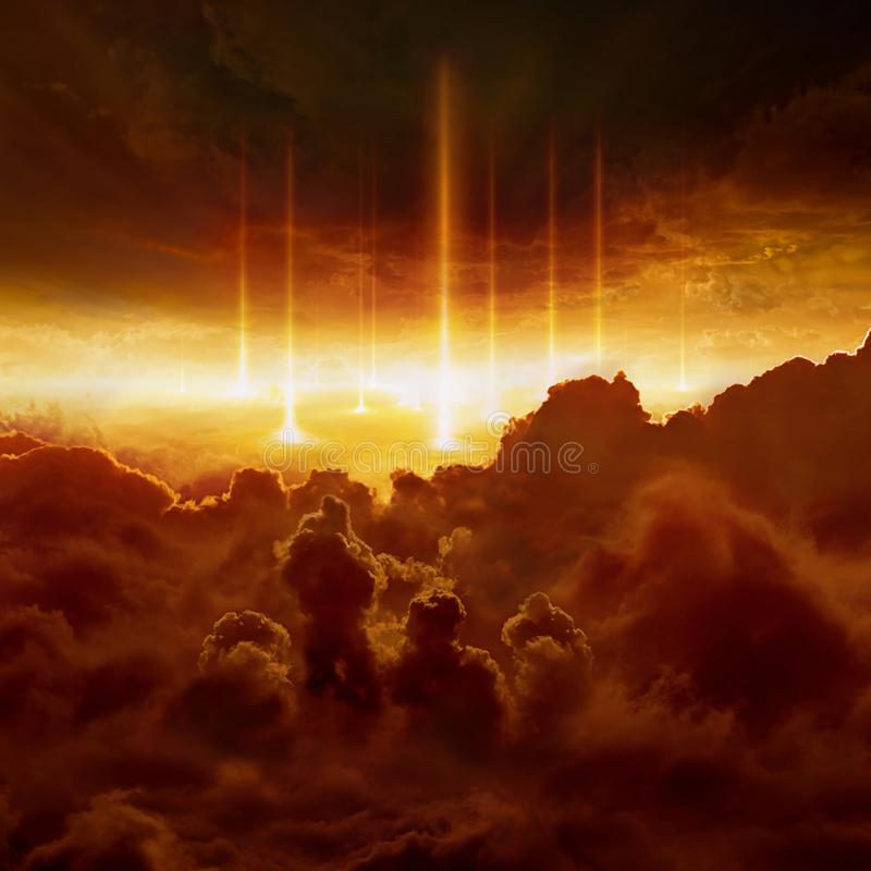 Hell realm, judgement day, end of world, battle of armageddon. Dramatic religious background - hell realm, bright lightnings in dark red apocalyptic sky royalty free stock photo