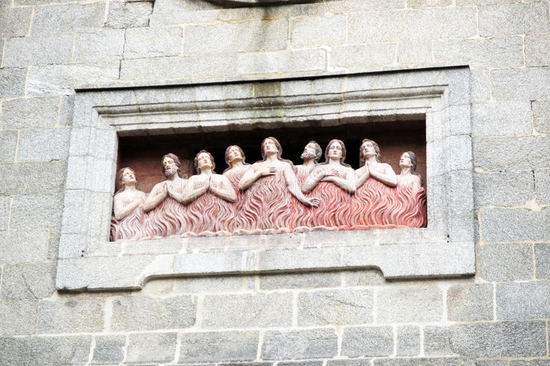 The hell. A hell sculpture on a church of santiago de compostela in spain stock photo