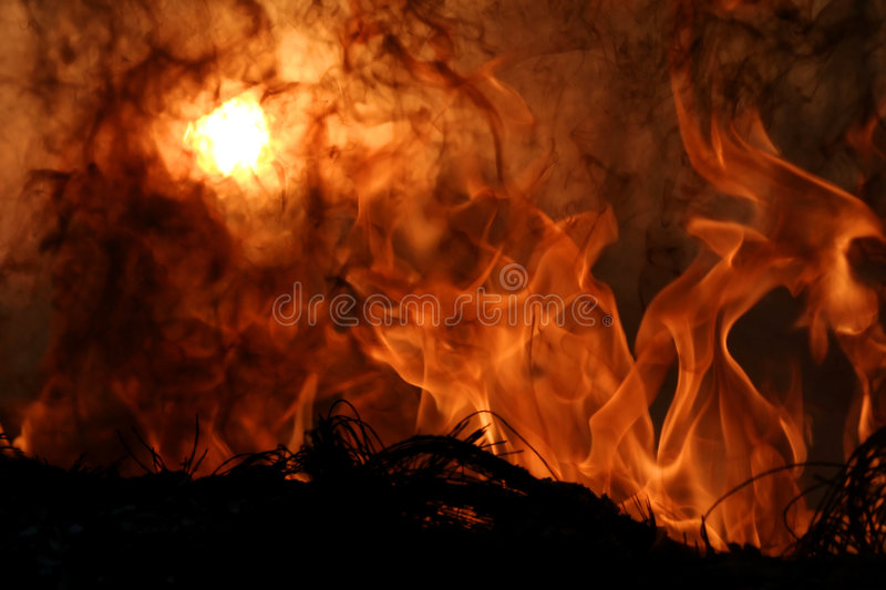Hell sunset. Hell's Fire - Flames, fire and sunset royalty free stock photos