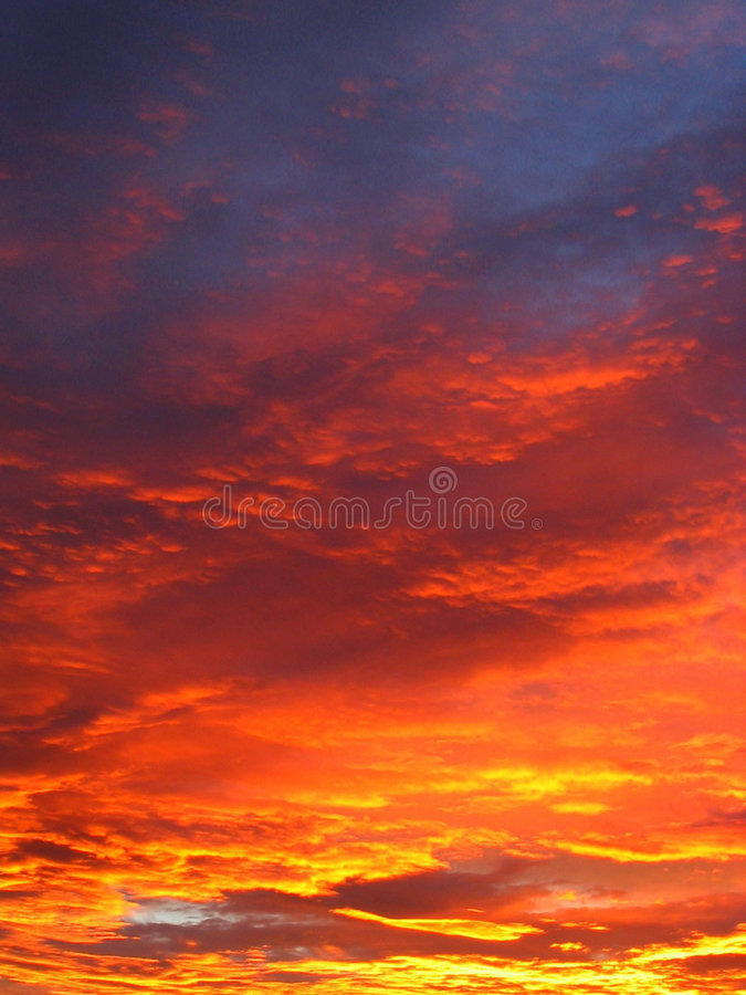 Hell sunset clouds stock image