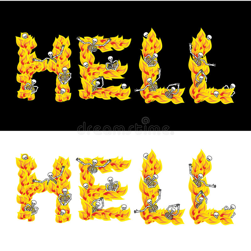 Hell Text Fire Letters Skeletons In Inferno Sinners In Gehenn