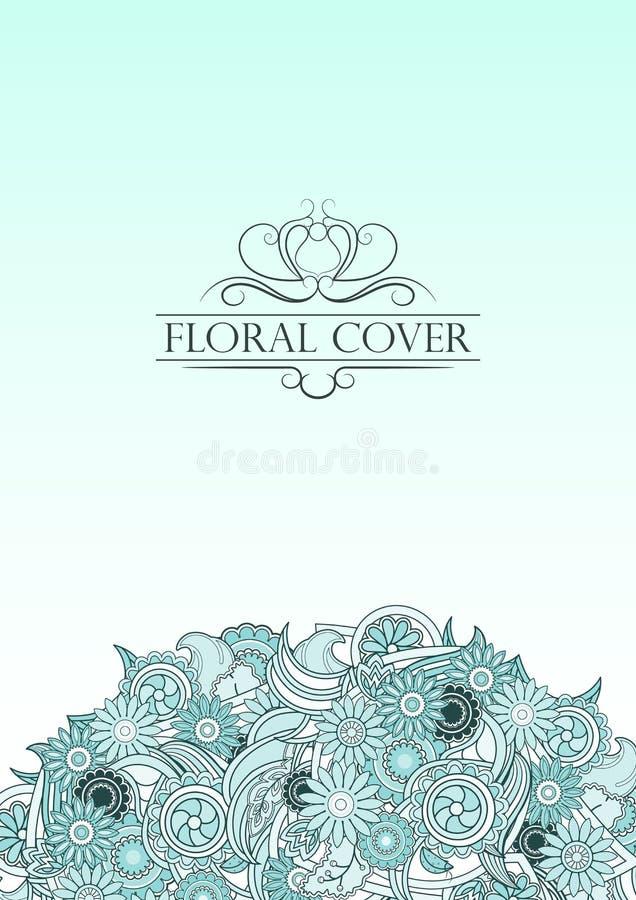 Hellblaue Blumenabdeckung mit dekorativem Text der Weinlese Pastellblaues vektor abbildung
