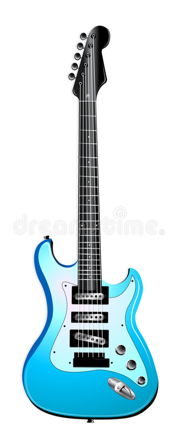 Hellblaue elektrische Gitarren-Abbildung stock abbildung