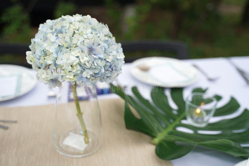 Hellblaue hydenyia Blume in der klaren Vasendekoration auf dem HeiratsSpeisetische stockbild