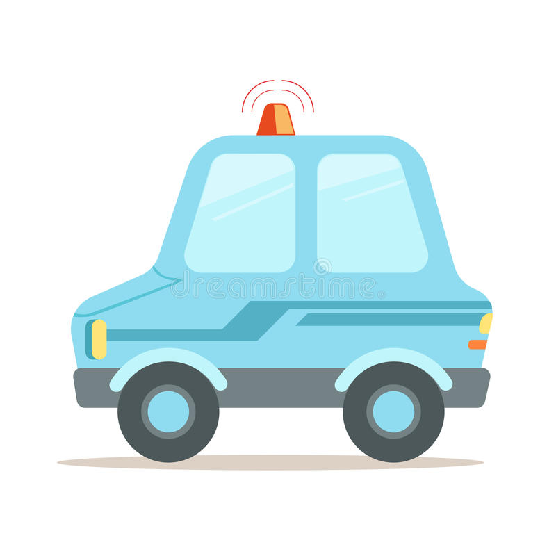 Hellblaue Karikaturpolizeiwagen-Vektor Illustration stock abbildung