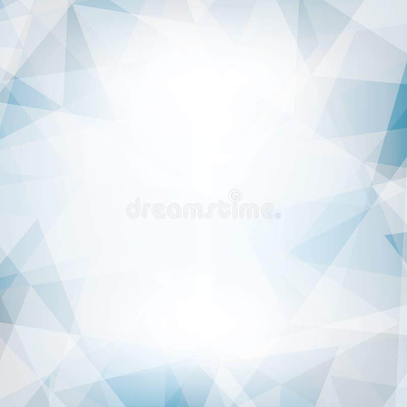 Hellblauer und grauer Hintergrund gemasert durch chaotische Dreiecke vektor abbildung