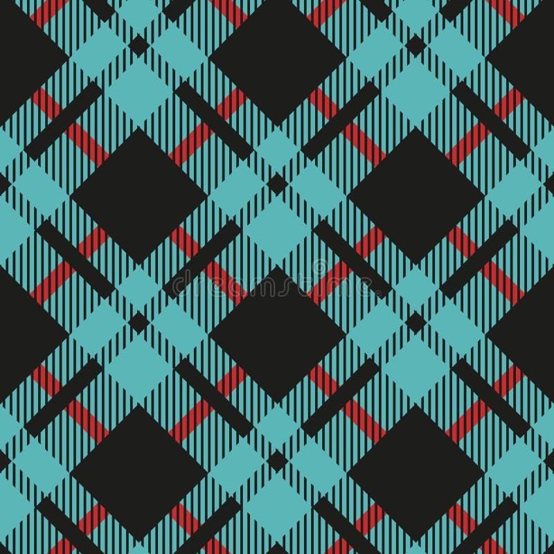 Hellblauer und schwarzer Büffel-Kontrollplaid-nahtloses Muster - Flanell-Plaid seamles des hellblauen und schwarzen Büffels der k lizenzfreie abbildung