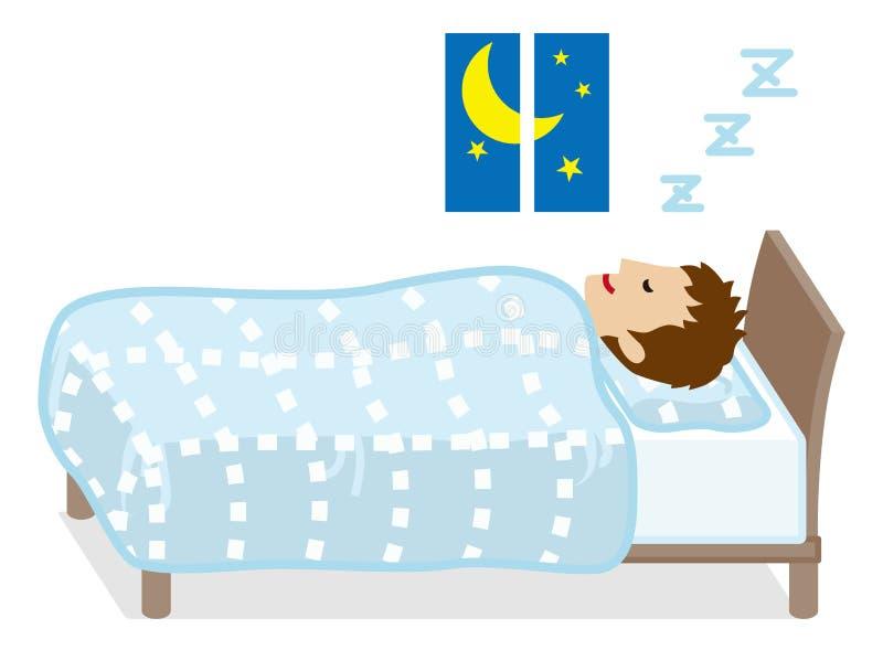 Hellblaues Bettzeug Farbe der Schlafenmänner stock abbildung