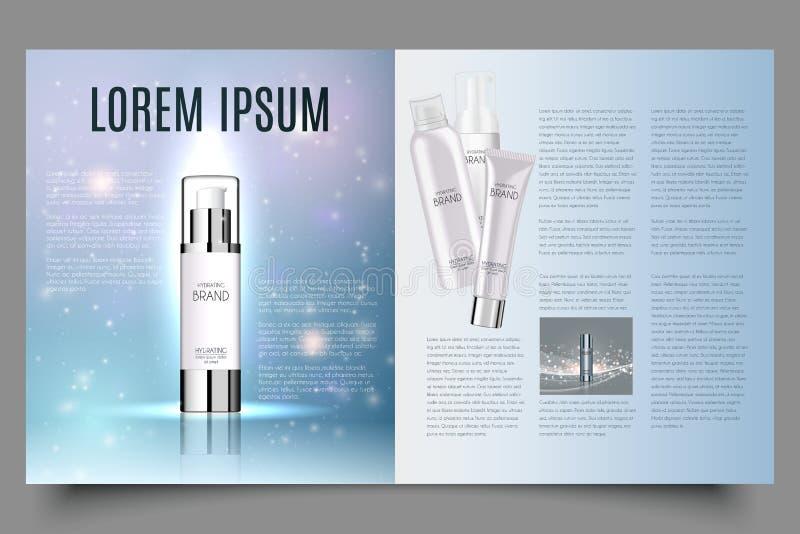 Hellblaues kosmetisches Broschürendesign mit schraubenartigen Struktur- und Wassertropfen, kann auf Katalogen oder Zeitschriften  stock abbildung