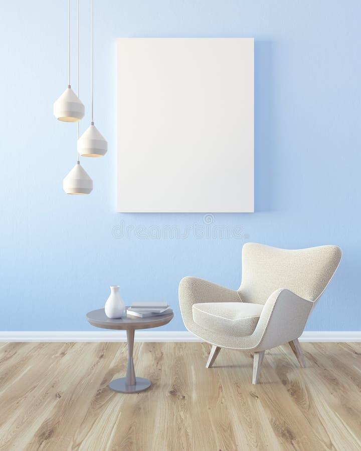 Hellblaues Wohnzimmer, Lehnsessel und Plakat lizenzfreie abbildung