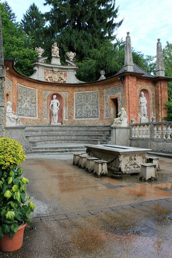 Hellbrunn slott - trickspringbrunnar arkivfoton
