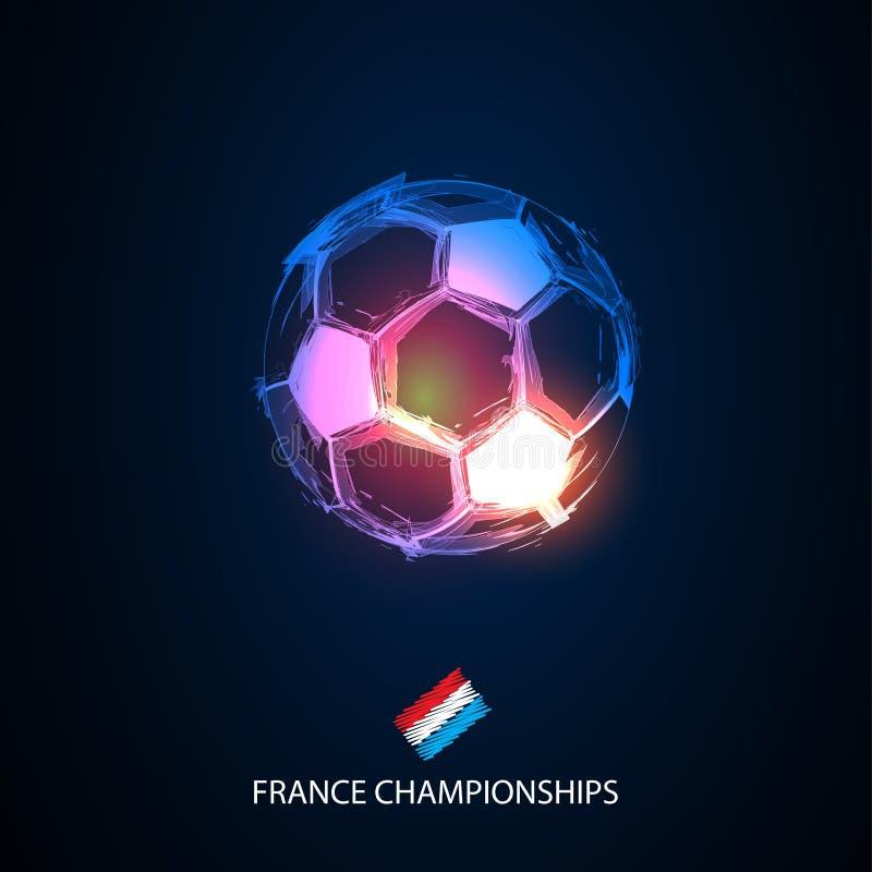 Helle abstrakte Frankreich-Flaggen des Fußballs lizenzfreie abbildung