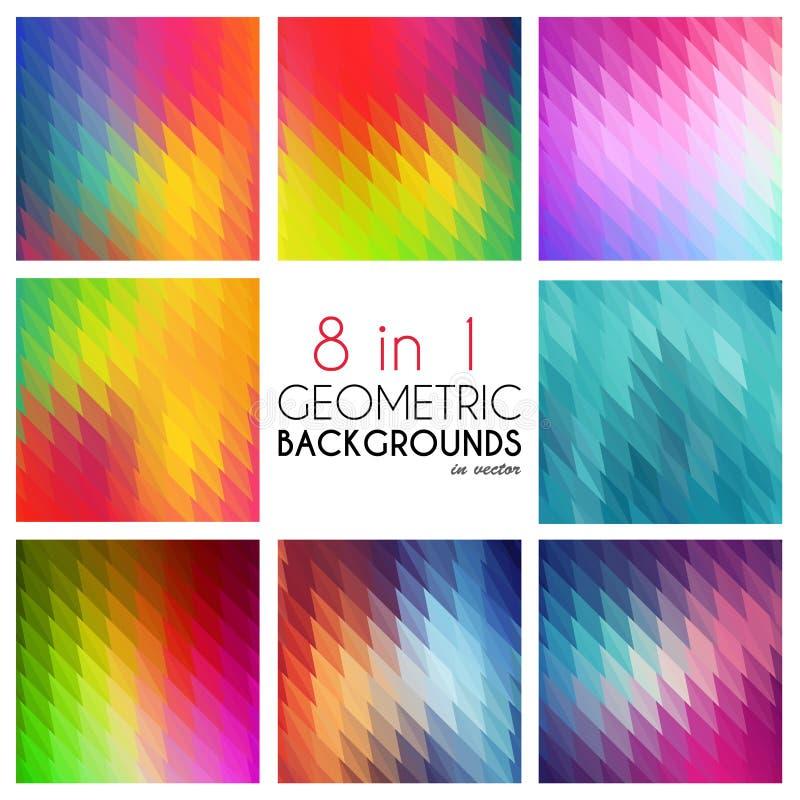 Helle abstrakte geometrische Hintergründe eingestellt 8 in1 Polygonaler Vektor für Ihr Design Buntes Mosaik von Dreiecken lizenzfreies stockfoto